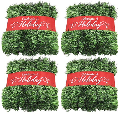 50 Foot Garland for Christmas Decorations - Non-Lit Soft Green Holiday Decor for Outdoor or Indoor Use - Premium Quality Home Garden Artificial Greenery, or Wedding Party Decorations (Pack of 4) from Celebrate A Holiday