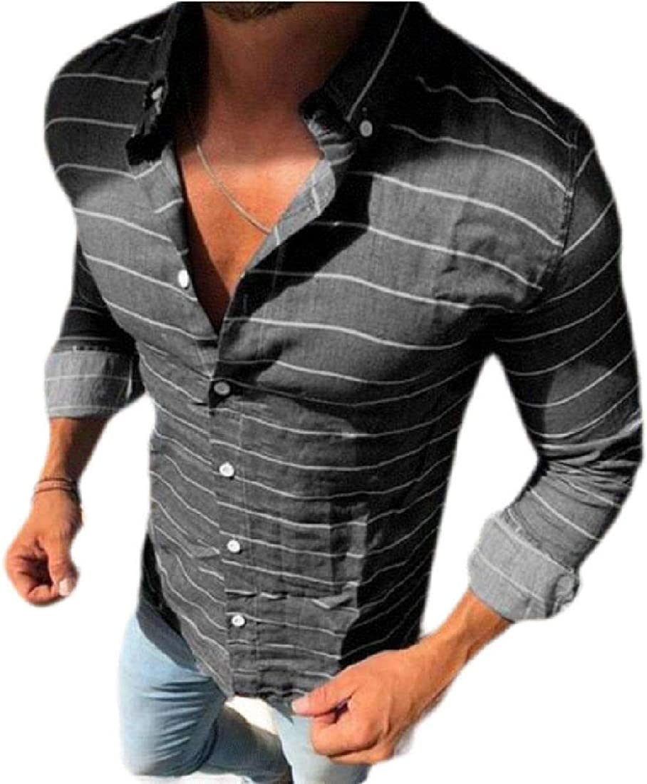 Abeaicoc Mens Slim Fit Casual Long Sleeve Button Down Stripe Print Shirts