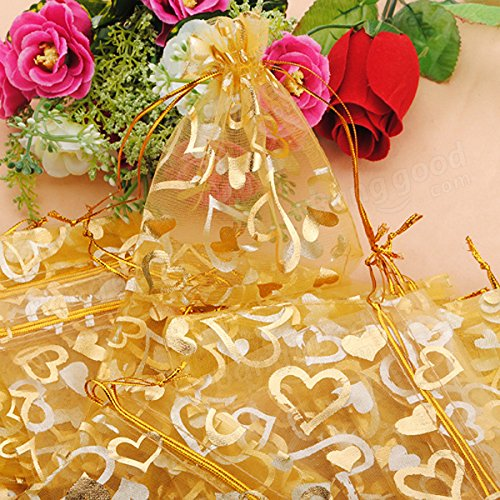 Festival Gifts & Party Supplies Gift Packaging Supplies - 100pcs Golden Luxury Heart Organza Jewelry Favor Gift Bag by Unknown (Image #4)