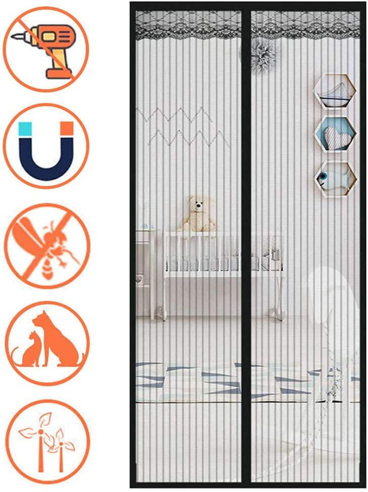 XXYANZI Fliegengitter Balkont/ür 70x190cm f/ür Kinder und Haustier geeignet Schwarz Insektenschutz Magnet T/üRvorhang Anti-Mosquito Insekt Vorh/änge f/ür Baby