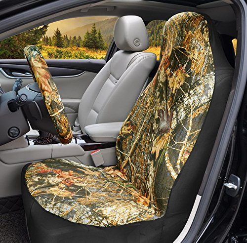 Bucket Seat Cover Car Front Seat Cover Universal Cloth Tree Camouflage Seat Belt Cover and Steering Wheel Cover Fit for Truck SUV Van Vehicles (yellow-1)