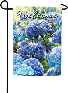 Custom Decor Blue Hydrangeas Welcome - Garden Size, Decorative Double Sided, Licensed and Copyrighted Flag - Printed in The USA Inc. - 12 Inch X 18 Inch Approx. Size