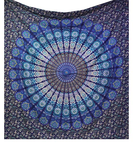 (raajsee Indian Cotton Blue Tapestry Mandala Wall Hangings, Hippie Tapestries,Boho Throw Bohemian Bedding, Beach Blanket, Yoga Meditation Rugs Queen Bedspread 210x220 cms -A)