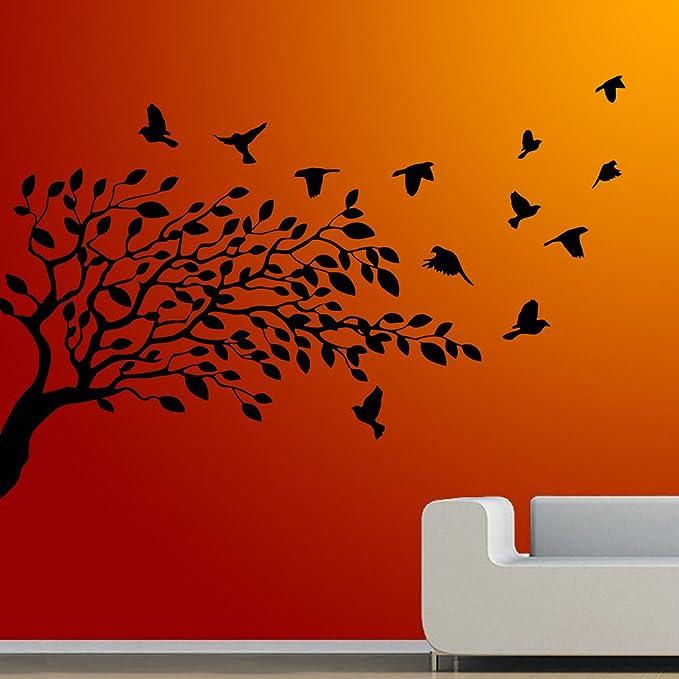 DecorVilla Tree and Flying Bird Wall Sticker & Decal (PVC Vinyl, Size -86 cm x 58 cm) Wall Stickers at amazon
