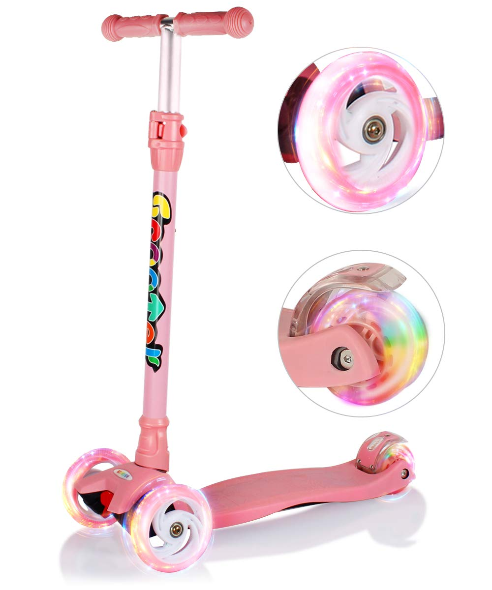 GEI Outon Kick Scooter For Kids 3 Wheel Lean To Steer Adjustable Height PU 4 LED Flasing Wheels Pink