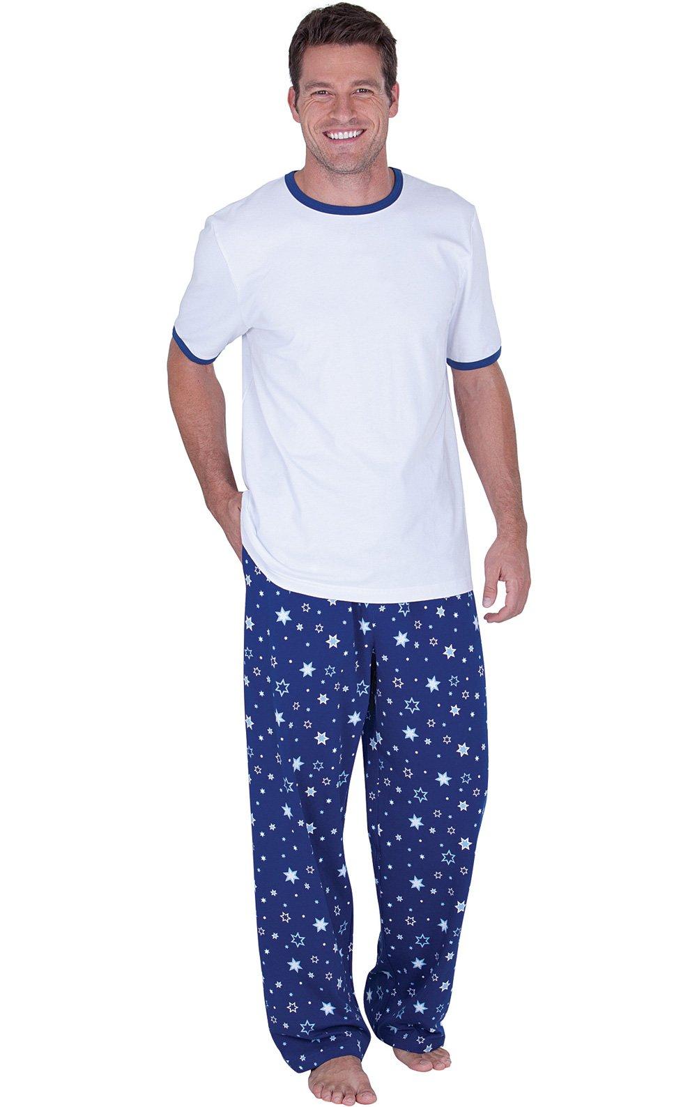 PajamaGram Cotton Short Sleeve Star Print Men's Pajamas, Blue/White, LRG