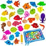 Tikeciti Rainbow Kingdom Magnetic Fishing Game Bath Toy Fishing Toy Bathtub Toys Water Toys for Kids Over 3 Years Old