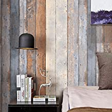 "HaokHome 206 Vintage Wood Wallpaper Rolls Smoky Gray/Beige/Tan Wooden Plank Murals Home Kitchen Bathroom Decoration 20.8"" x 393.7"""