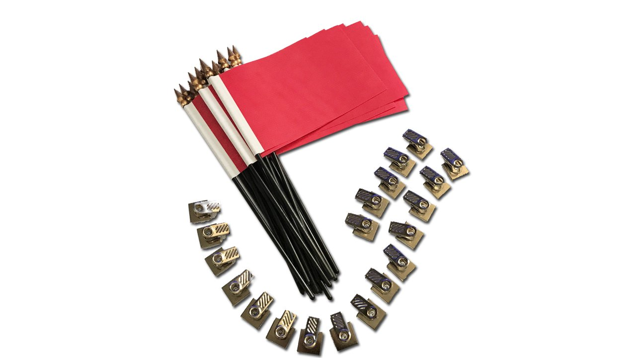 20 Pack Red Desk Flags with Flag up Flag Down 360 Metal Clips Pomodoro Status Alert Office