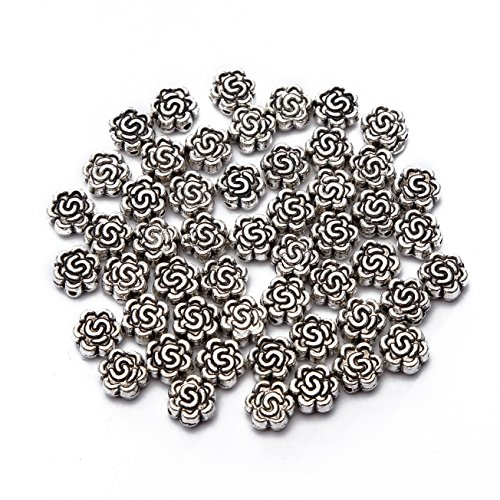 BRCbeads Top Quality 8mm Rose Style #2 Tibetan Silver Flower Metal Spacer Beads 50pcs per Bag For Jewelry Making Findings