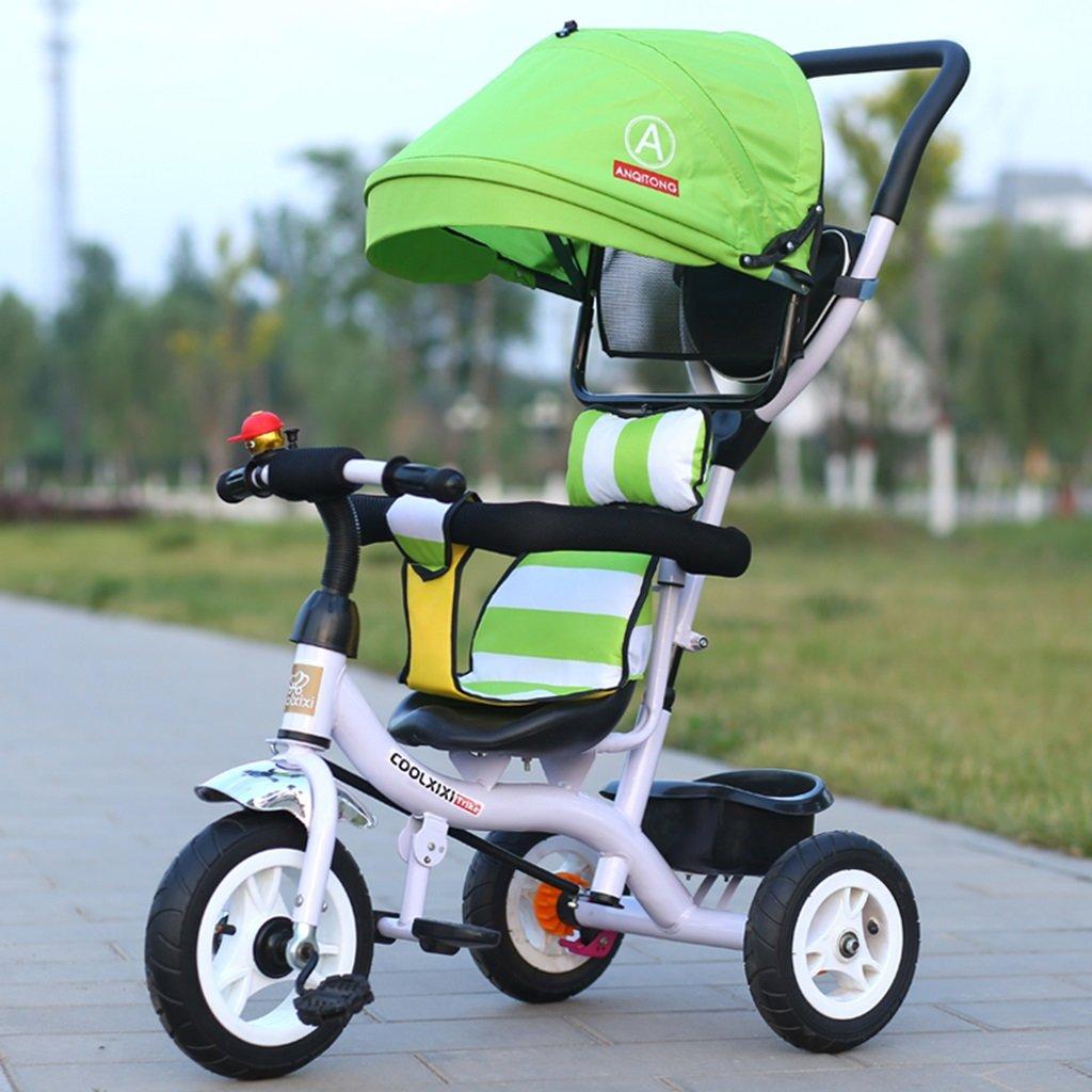 HAIZHEN マウンテンバイク 子供の三輪車の炭素鋼のフレームチタンの空の車のサンシェードの後ろのブレーキの自転車1-5歳のベビーカー 新生児 B07DLDF4R3緑