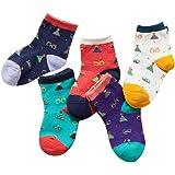 Jojobaby Unisex-baby Boys//girls Cotton Ankle Socks Breathable Cartoon Cat Pack of 5