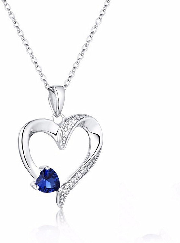 CS-DB Silver Necklaces Heart Stone Romantic Chain Charm Pendants