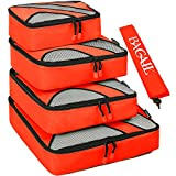 4 Set Packing Cubes,Travel Luggage Packing Organizers with Laundry Bag Orange