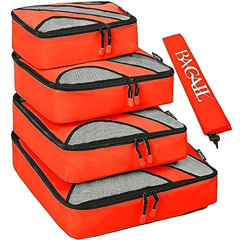 4 Set Packing Cubes,Travel Luggage Packing Organizers with Laundry Bag Orange (Travel Set)