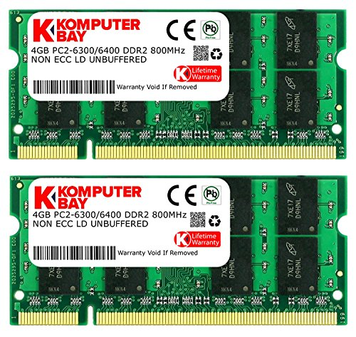 Komputerbay 8GB 2X 4GB DDR2 800MHz PC2-6300 PC2-6400 DDR2 800 (200 PIN) SODIMM Laptop Memory