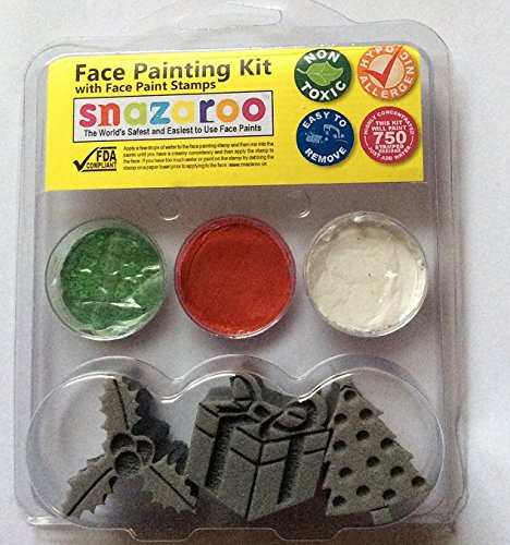 Snazaroo Christmas face paint stamp kit, Holly, tree and present