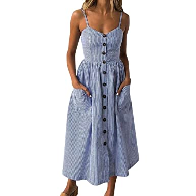 9ab5ff65041 Howstar Women s Casual Sleeveless Long Dress Striped Summer Backless Beach  Dress With Pocket (S