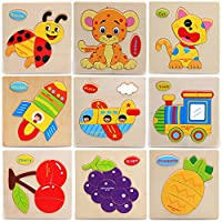 Chinatera 3Pcs Multifunctional Wooden Blocks Cartoon Animal Jigsaw Puzzle Toy Kids Preschool Educational Toys