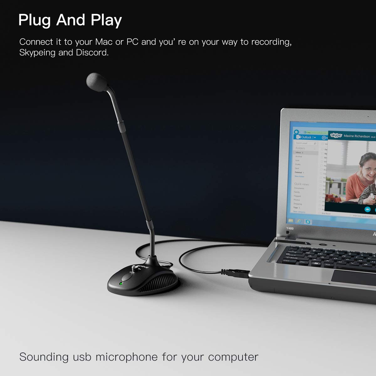 Computer Microphone,FIFINE Desktop Gooseneck Microphone,Mute Button with LED Indicator,USB Microphone for Windows/Mac.Ideal for Gaming Streaming YouTube Podcast.(K052) by FIFINE TECHNOLOGY (Image #6)