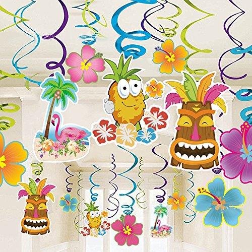 Hawaiian Decorations Luau Party Hanging Swirls (30pcs) Pineapples Flamingos Coconut Palm Confetti (0.53oz) for Tropical Tiki Luau Summer Beach Hibiscus Birthday Pool Party Favor Supplies