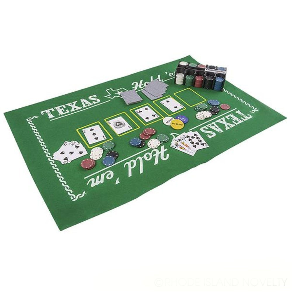 Kidsco Texas Hold'Em Poker Set - All-In-One Indoor and Outdoor Gambling Board Game for Kids - Perfect for Blackjack Tournament, Casino Royale Themed Party, Event Supply, Gift, and Bag Stuffers by