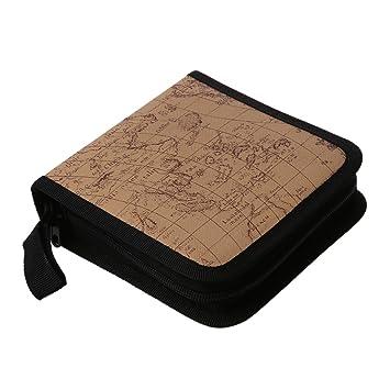 SODIAL(R) Soporte Caja Bolsa de Almacenamiento con Cremallera para Album 40 Discos CD DVD - Beige