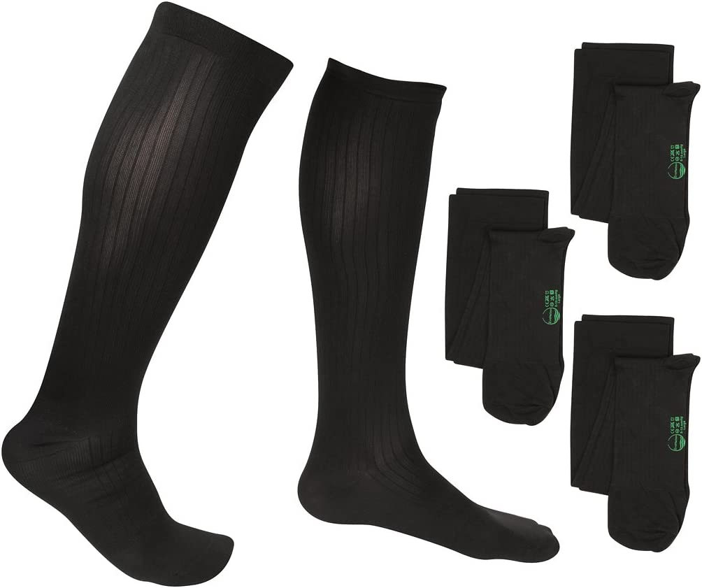 Large, Black 3 Pair EvoNation Mens Travel USA Made Graduated Compression Socks 8-15 mmHg Mild Pressure Medical Quality Knee High Orthopedic Support Stockings Hose Fit Best Comfort Circulation