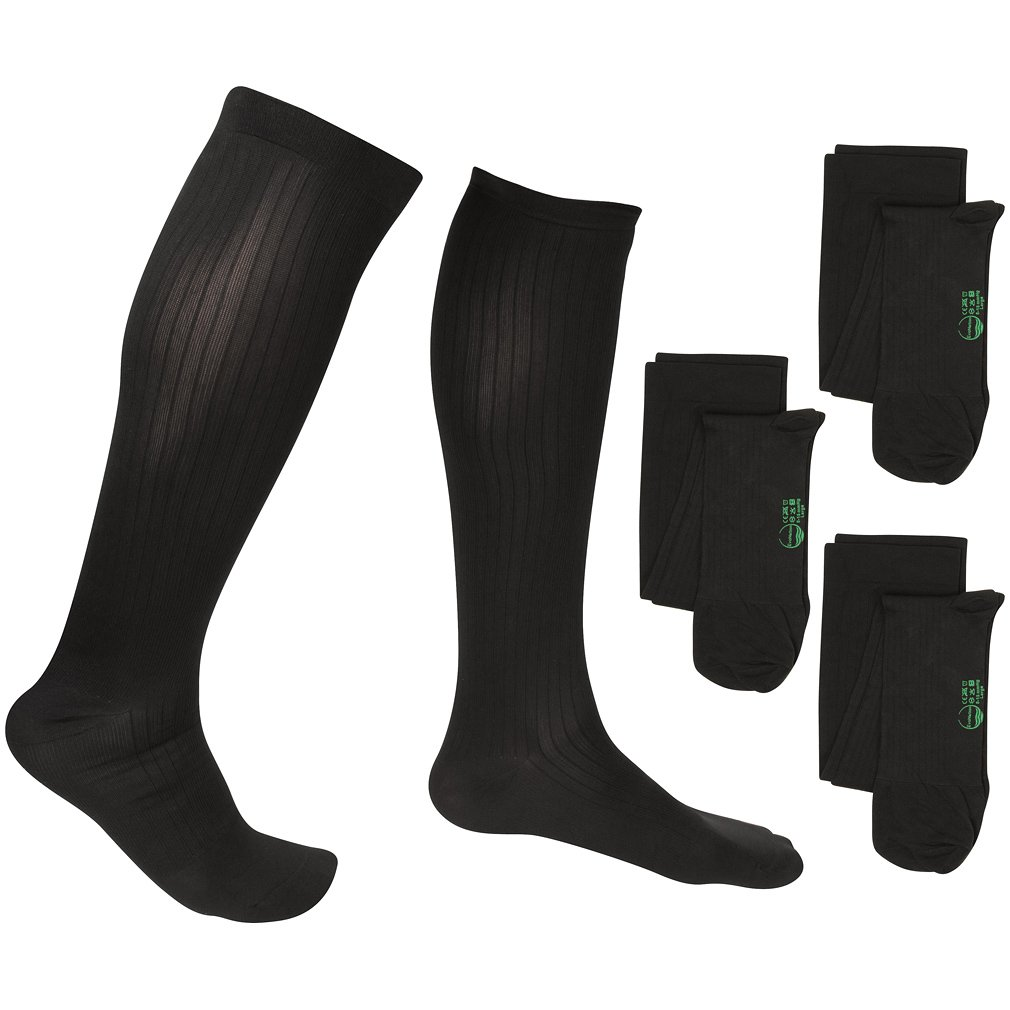 3 Pair EvoNation Men's Travel USA Made Graduated Compression Socks 8-15 mmHg Mild Pressure Medical Quality Knee High Orthopedic Support Stockings Hose - Best Comfort, Fit, Circulation (Large, Black)