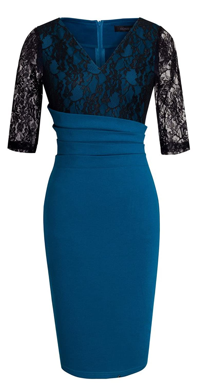 HOMEYEE Women's Elegant Lace Sleeve V-neck Slim Bodycon Formal Vintage Dress B336