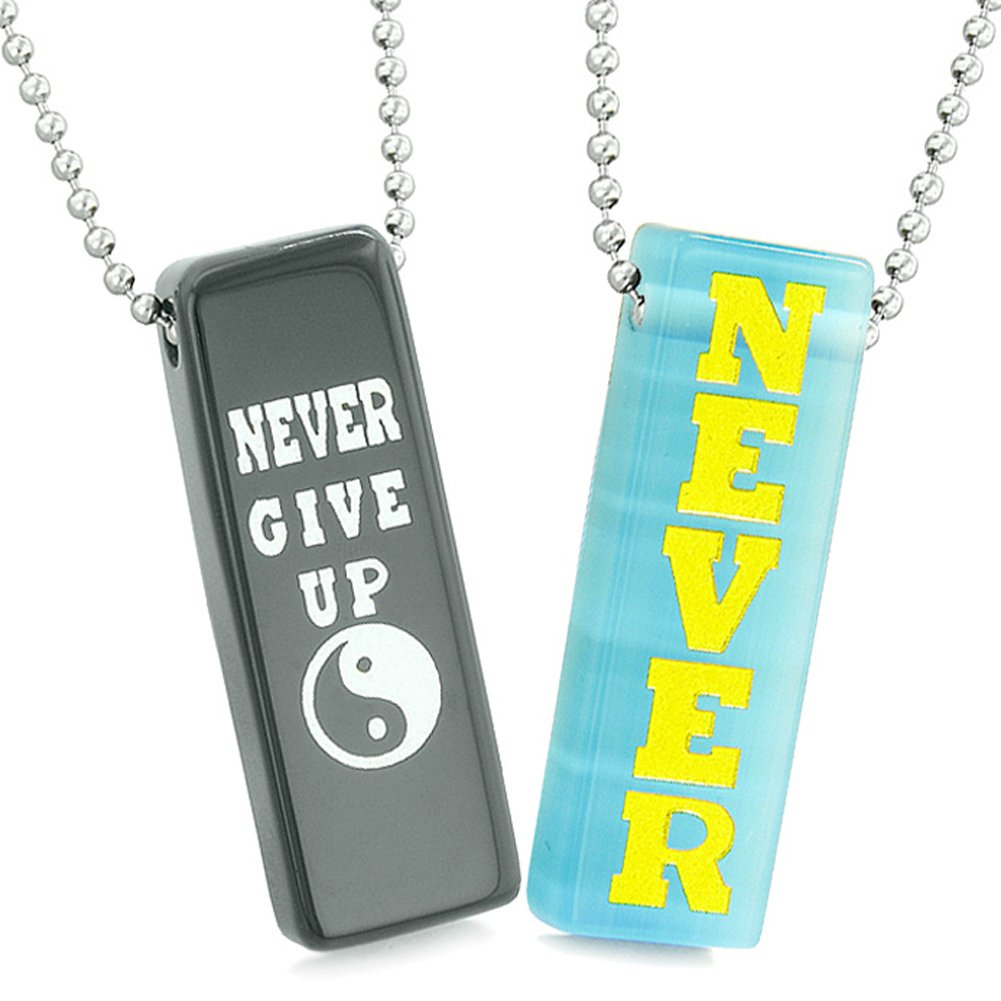 Never Give Up Tags Love Couples or Best Friends Amulets Sky Blue Simulated Cats Eye Black Agate Necklaces