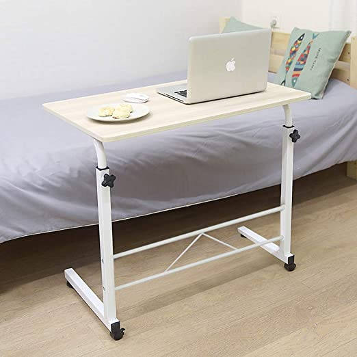 Lifting Laptop Computer Desk Movable C-Shaped Overbed TV Tray Mobile Sofa Chair Side End Table for Living Room Bedroom SSLine Magazine Snack Table on Wheels 31.5 L x 15.75 W x 26.77-34 H