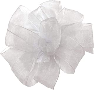 "product image for Offray Berwick LLC 430774 Berwick Simply Sheer Asiana Ribbon - 1-1/2"" W X 25 yd - White Ribbon"