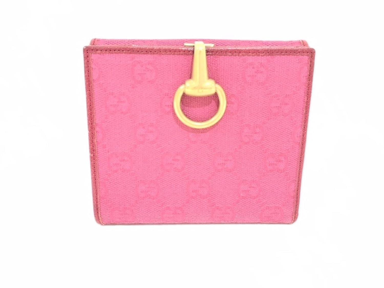 [グッチ] GUCCI Wホック財布 財布 ピンク キャンバス 101603 [中古] | B07CF4FWWR