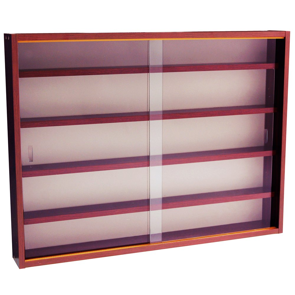 WATSONS REVEAL - 4 Shelf Glass Wall Collectors Display Cabinet - Mahogany