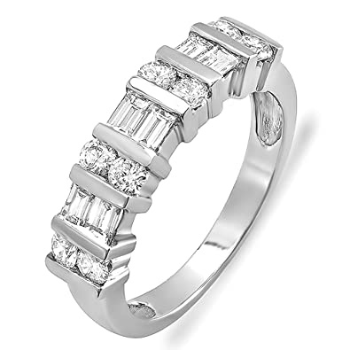 Amazon.com: 1.00 Carat (ctw) 14k White Gold Round & Baguette ...