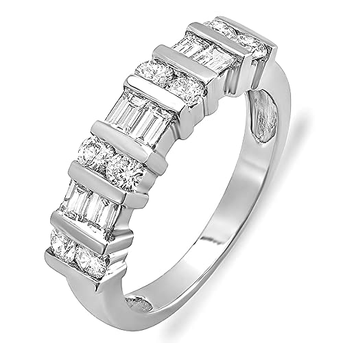 1.00 Carat (ctw) 14k White Gold Round & Baguette Diamond Ladies Anniversary Wedding Ring Band 1 CT