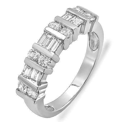 1.00 Carat (ctw) 14k White Gold Round & Baguette Diamond Ladies Anniversary Wedding Ring Band 1 CT