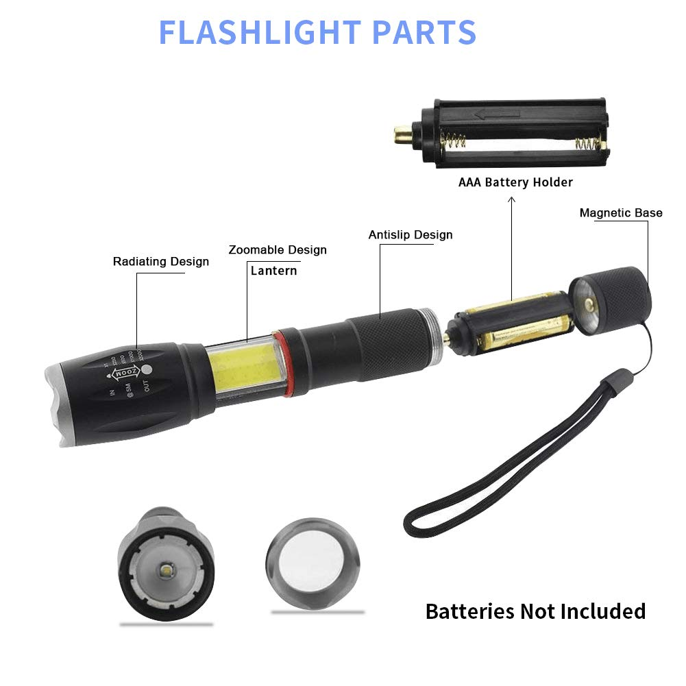 Ultra Bright Handheld Flashlight Adjustable Torchlight Focus 5 Modes Water Resistant Torch with Rechargeable 18650 Lithium Battery /& Charger for Camping Hiking SOLARMKS FL18