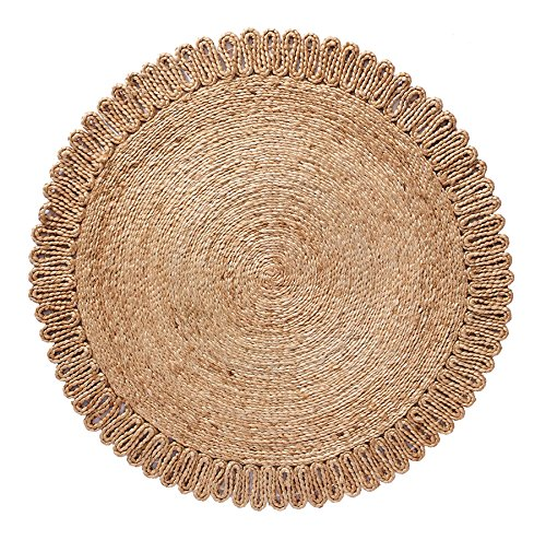 Home Furnishings by Larry Traverso Boho Market Chloe Crochet Round Jute Rug, Artfully Braided and Reversible, Durable and Sustainable Handwoven Jute, 3' Round, Beige, 3 Styles Available Round Rung