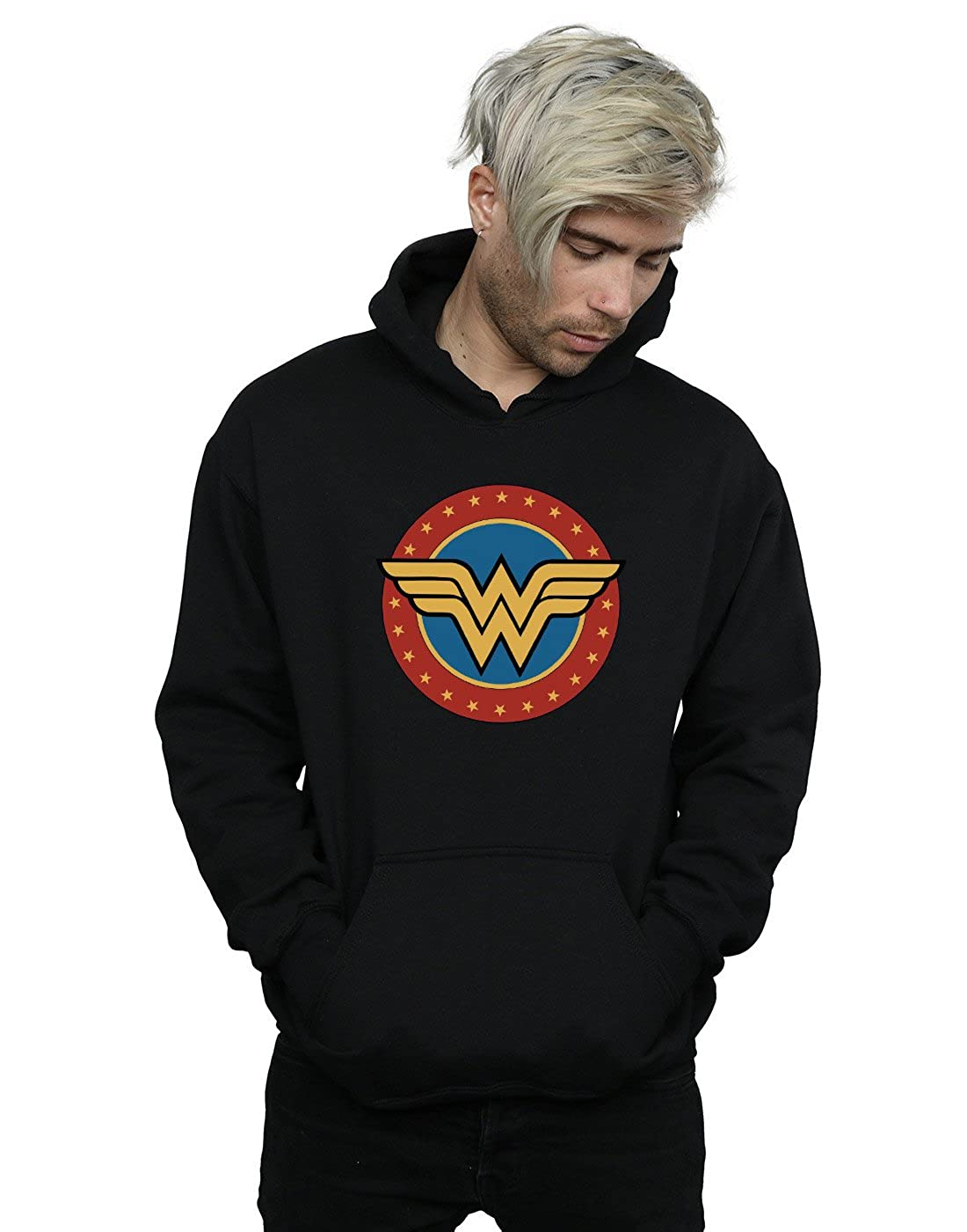 Absolute Cult DC Comics Herren Wonder Woman Circle Logo Kapuzenpullover