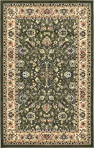 A2Z Rug 5-Feet-by-8-Feet Covent Garden Persian Traditional Design Rug, Green Green Garden Rug