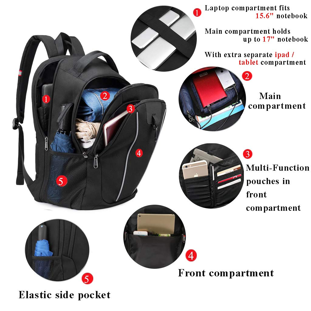 Daypack de Negocios,Mochila Laptop,3 Compartimentos UBAYMAX Mochila para Portatil 15.6//17 Impermeable,Mochila Viaje para Hombre//Mujeres,Mochila Escolare Multifuncional,Mochila USB de Trabajo