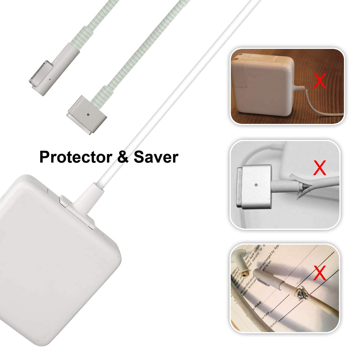 Charger Cable Protector for Mac-Book,Adapter Cable Saver Compatible with 45W/60W/85W, Dual Ends Protector,1Pack