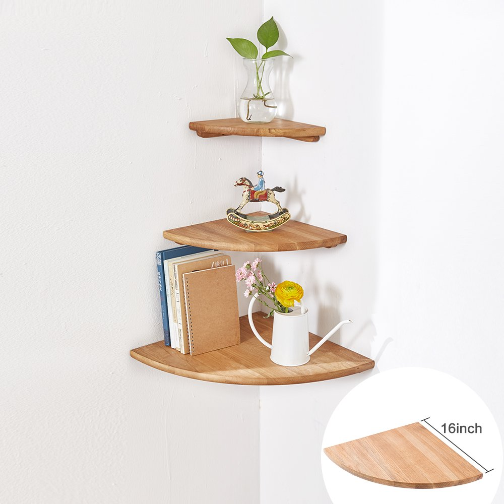 Inman Wooden Corner Shelf 1 Pcs Round End Hanging Wall Mount Floating Shelves Storage Shelving Table Bookshelf Drawers Display Racks Bedroom Office Home Decor Accents Walnut 7 Home Garden Store Home