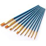 画材筆 ペイント ブラシ アクリル筆 水彩筆 油絵筆 画筆 丸筆 平型筆 平型円頭筆 短毛筆 模型 (ブルー 10)