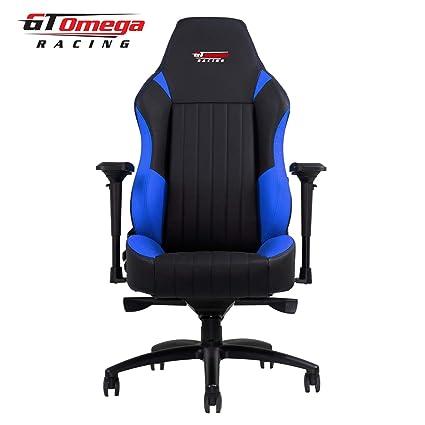 GT Omega Racing EVO XL - Silla de Oficina, Deportiva, Cuero Negro y Azul: Amazon.es: Hogar