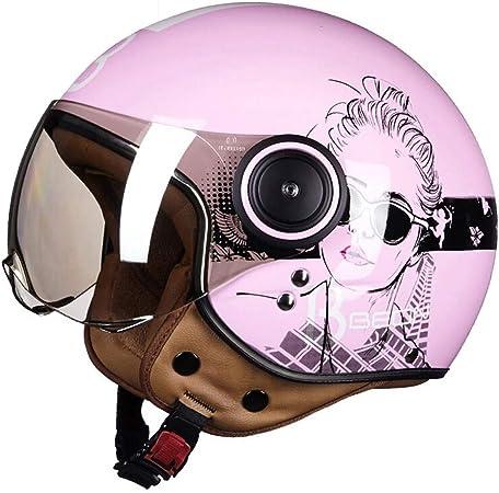 Z&FEI Casco de Moto Harley Jet Retro Casco Vespa Cruiser Scooter Casco D.O.T Certified Open Face para Mujer niña Rosa: Amazon.es: Hogar