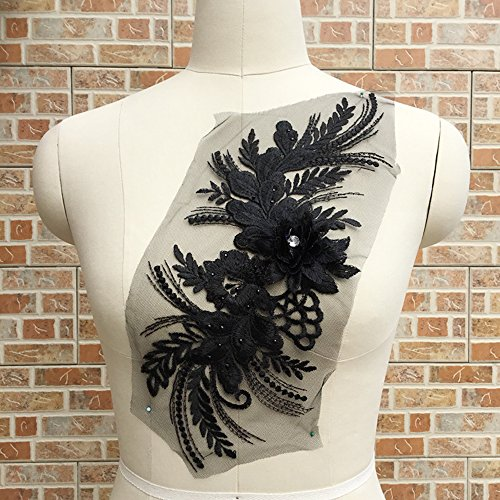 USJee Beautiful Black Embroidered Lace Patches Beaded Rhinestone Applique for Dress Bridal Veils Decor