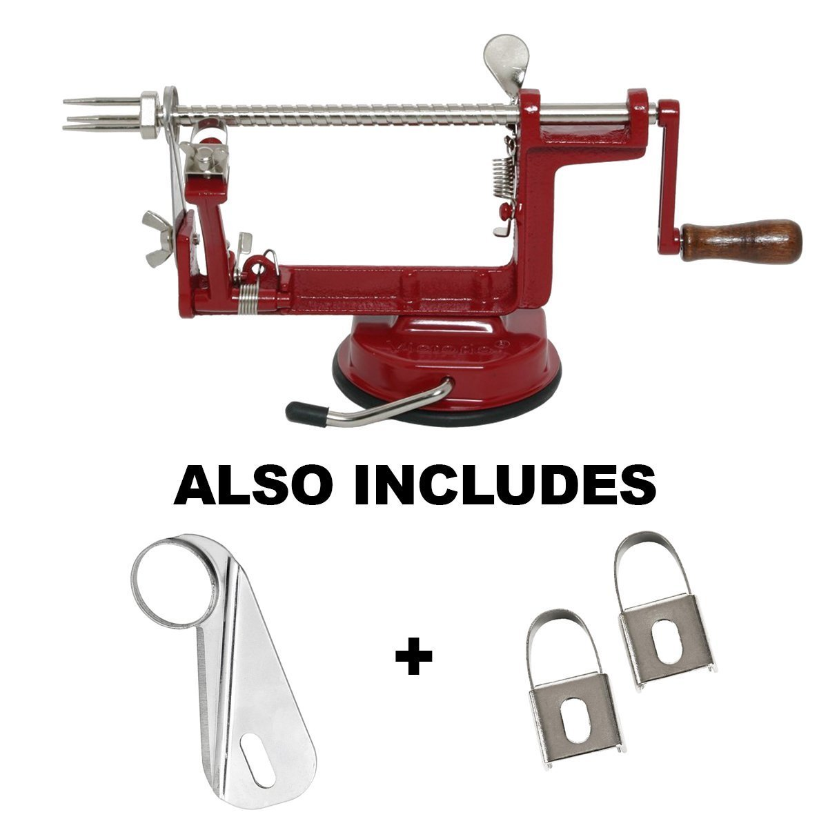 Johnny Apple Peeler with Suction Base VKP1010 by VICTORIO + (1) additional Coring &Slicing Blade VKP1010-2 + (2) additional Peeling Knifes VKP1010-1